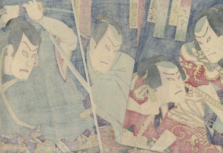 Yakko and Samurai Wielding Swords, 1873 by Kunichika (1835 - 1900)