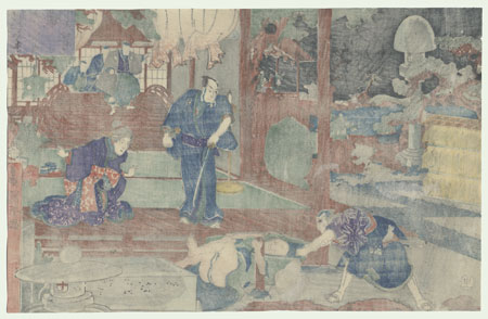 The 47 Ronin, Act 7: The Ichiriki Teahouse in Gion by Kuniyoshi (1797 - 1861)