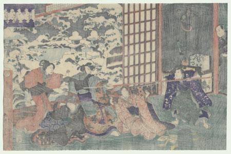 The 47 Ronin, Act 9: Yuranosuke's Country Retreat in Yamashina by Kuniyoshi (1797 - 1861)
