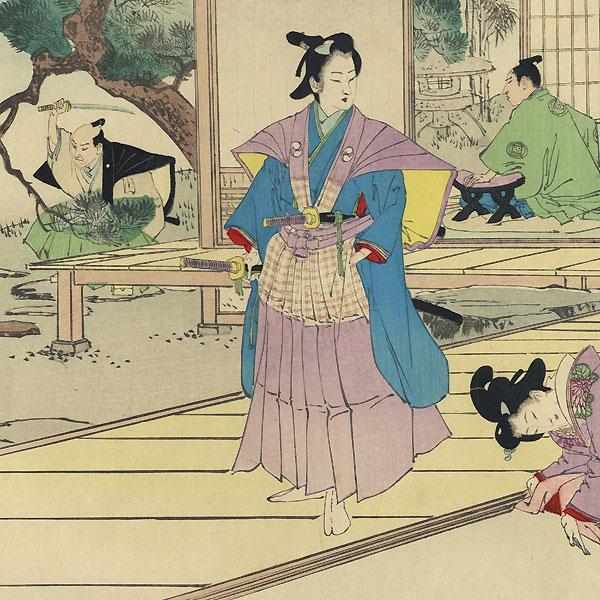 The 47 Ronin, Act 2: Wakasanosuke's Mansion: The Pine-cutting Scene by Toshiaki (1864 - 1921)