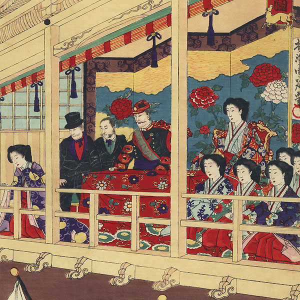 Horse Racing at Shinobazu Pond by Chikanobu (1838 - 1912)
