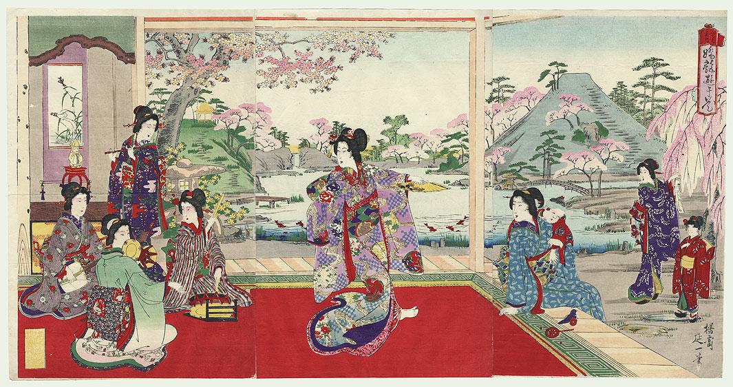 Spring Cherry Blossoms by Nobukazu (1874 - 1944)