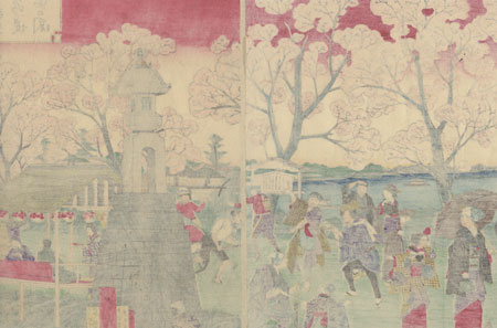 Cherry Blossom Viewing by Hiroshige III (1843 - 1894)