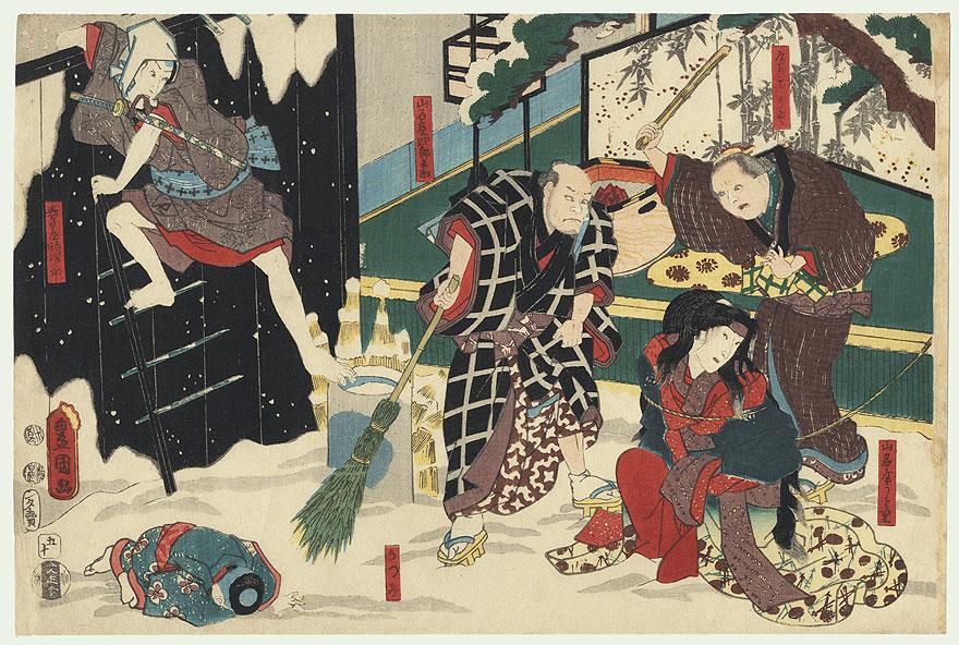 Tokijiro Urazato Rescuing, 1847 - 1852 by Toyokuni III/Kunisada (1786 - 1864)