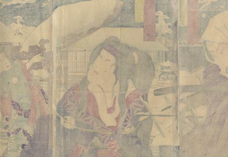 Rescuing a Beauty by Kunichika (1835 - 1900)