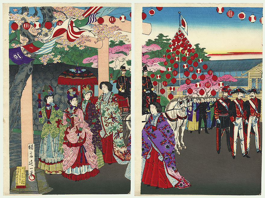 Meiji Imperial Couple Visiting a Shrine by Nobukazu (1874 - 1944)