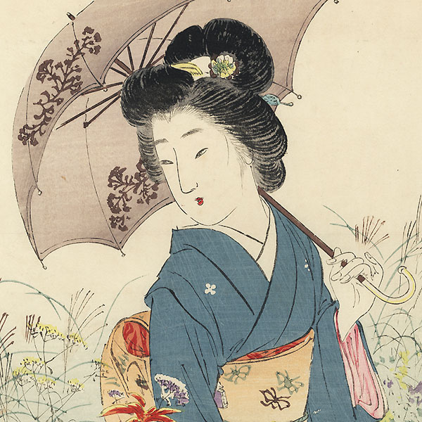 Strolling through a Garden Kuchi-e Print, circa 1909 by Suzuki Kason (1860 - 1919)