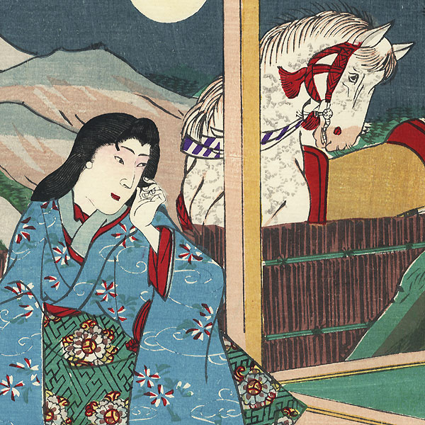 Beauty on a Moonlit Night by Meiji era artist (unsigned)