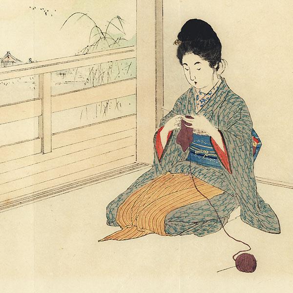 Red Lotus, White Lotus Kuchi-e Print, 1901 by Kajita Hanko (1870 - 1917)