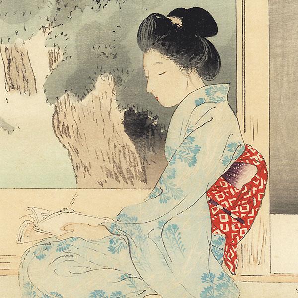 Relaxing in the Evening Kuchi-e Print, 1896 by Terazaki Kogyo (1866 - 1919)