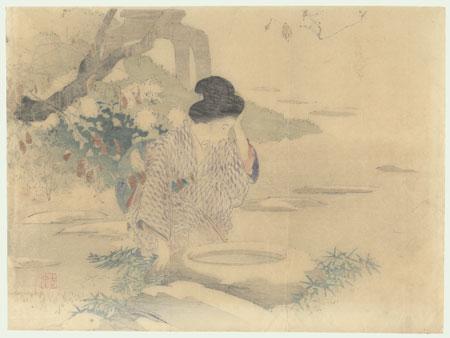 Beauty in a Garden Kuchi-e Print, 1901 by Kajita Hanko (1870 - 1917)