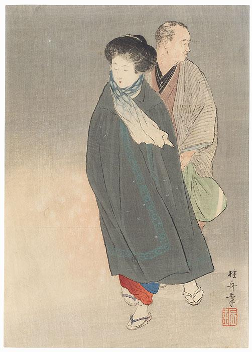 Fluttering Kuchi-e Print by Takeuchi Keishu (1847 - 1915)