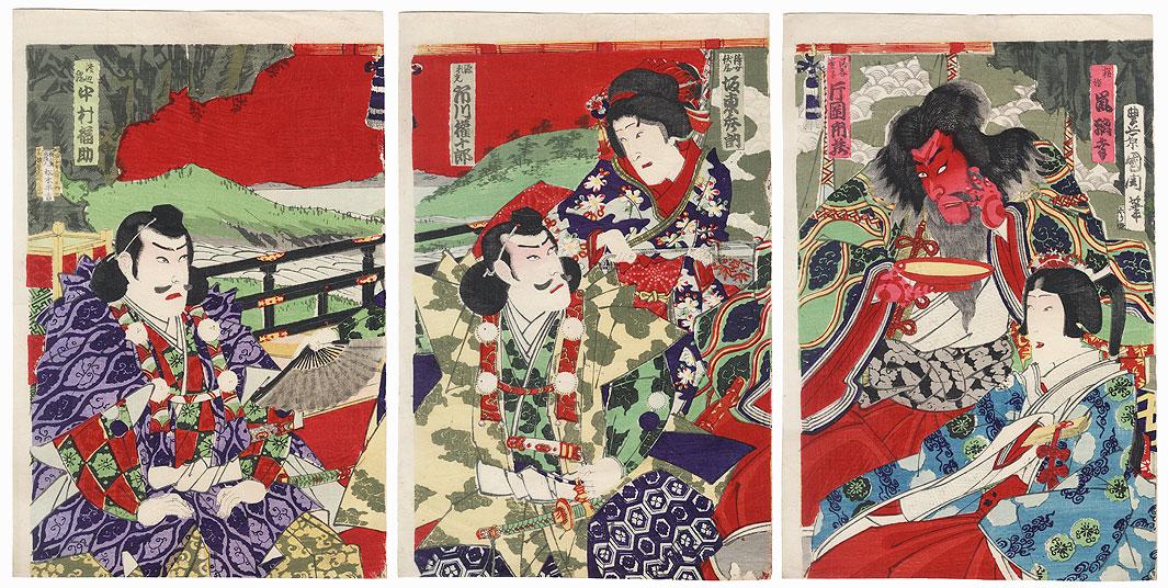 Minamoto no Yorimitsu Facing Shuten-doji, 1887 by Kunichika (1835 - 1900)