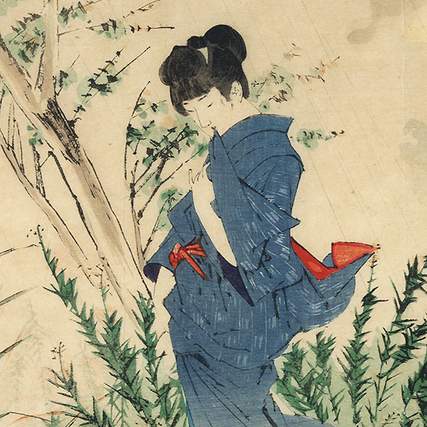 A Late Autumn Shower Kuchi-e Print, 1901 by Yamanaka Kodo (1869 - 1945)