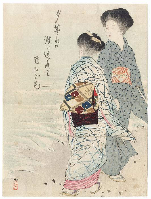 Beauties on a Beach Kuchi-e Print by Takeuchi Keishu (1847 - 1915)