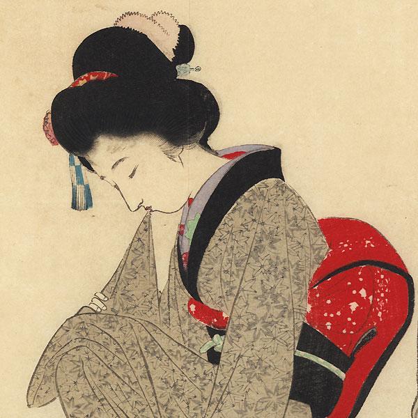 Rainy Autumn Kuchi-e Print by Tomioka Eisen (1864 - 1905)