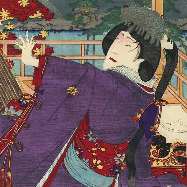 Samurai Raising his Sword by Kunichika (1835 - 1900)