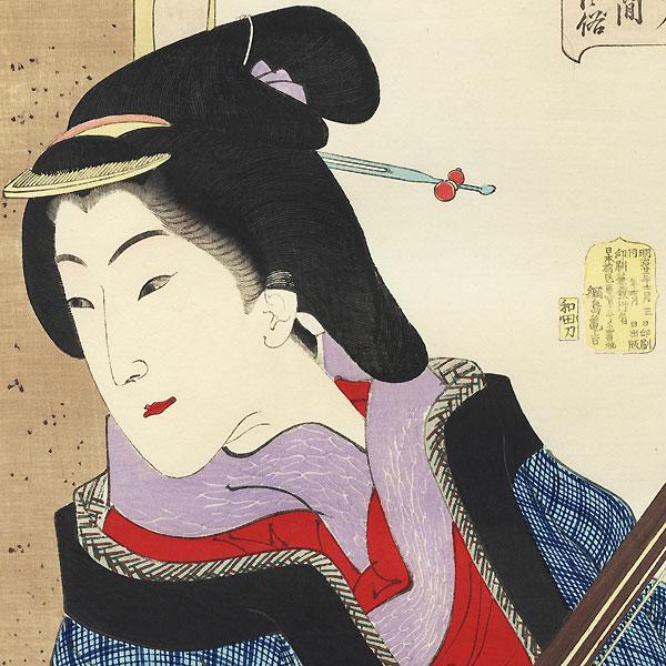 Enjoying herself: the appearance of a teacher of the Kaei era, No. 20 by Yoshitoshi (1839 - 1892)