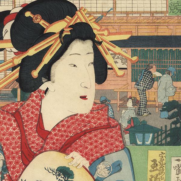 Beauty in Front of a Teahouse by Kuniteru II (1829 - 1874)