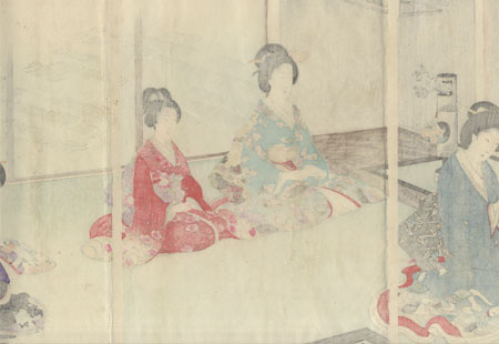 Tea Ceremony with Flower Arranging in Turn by Chikanobu (1838 - 1912)