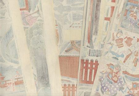 Sugawara Denju Tenarai Kagami Paper Model Set by Kunisada III (1848 - 1920)