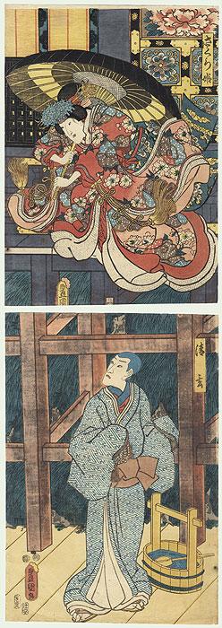 Princess Sakura Committing Suicide Kakemono, 1852 by Toyokuni III/Kunisada (1786 - 1864)