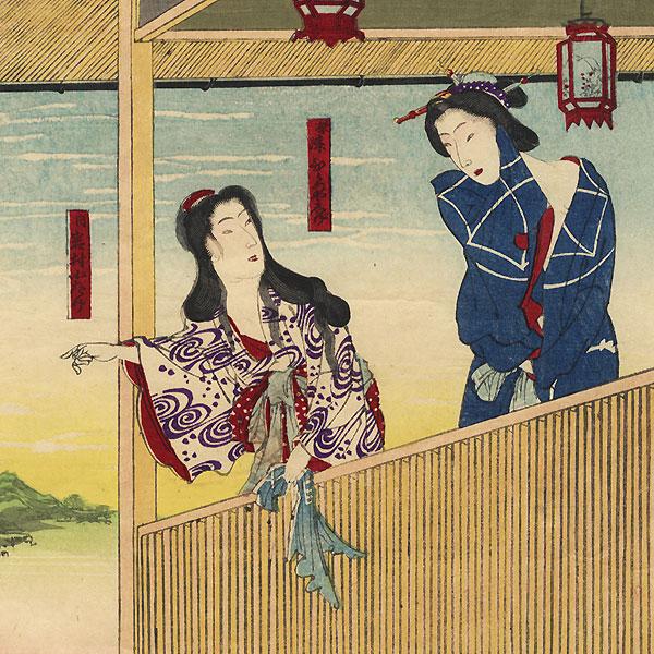 Otake and Shige Enjoying the View after a Bath by Kunichika (1835 - 1900)