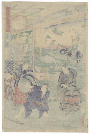 The 47 Ronin, Act 6: The Departure of Okaru and Kampei's Suicide by Kunisada II (1823 - 1880)