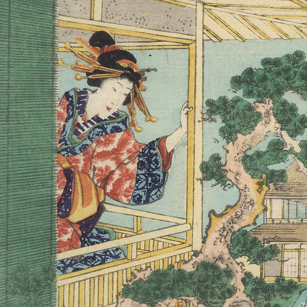 The 47 Ronin, Act 7 : The Ichiriki Teahouse in Gion by Kunisada II (1823 - 1880)