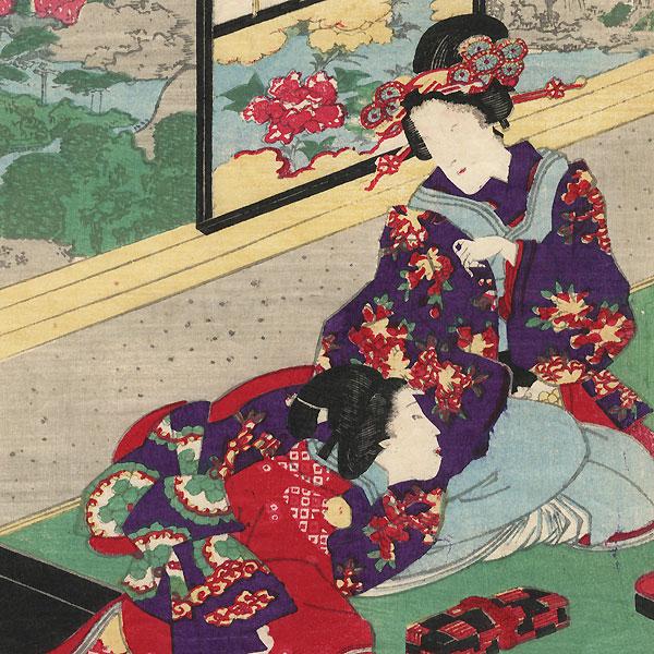Prince Genji and Guests, 1855 by Toyokuni III/Kunisada (1786 - 1864)