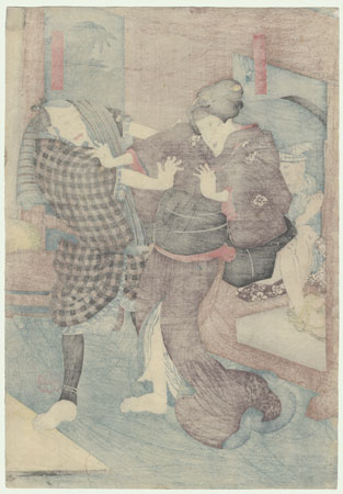 Okaru Preparing to Leave, 1851 by Kuniyoshi (1797 - 1861)