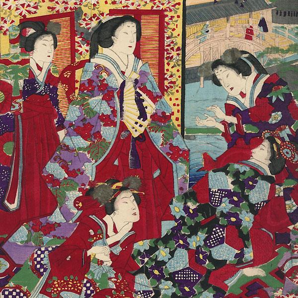 View of Kameido Tenjin, 1878 by Fusatane (active circa 1850 - 1870)