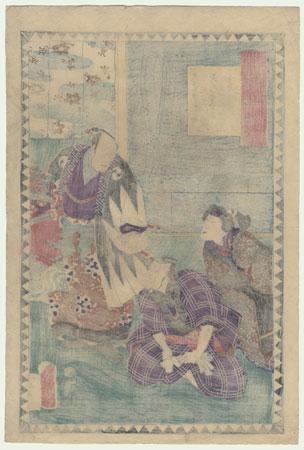 The 47 Ronin, Act 10: Kataoka Nizaemon VIII as Oboshi Yuranosuke, Bando Kamezo I as Amakawaya Gihei, and Ichikawa Dannosuke V as His Wife Osono by Kuniaki II (1835 - 1888)