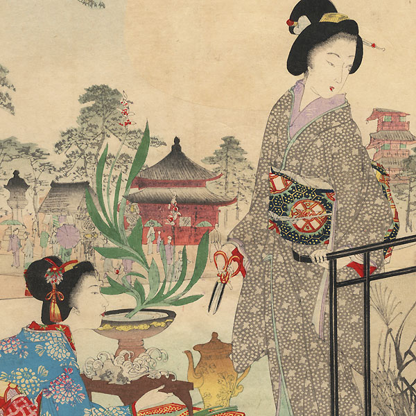 Beauties Arranging Flowers and Reading, with View of a Shrine by Nobukazu (1874 - 1944)