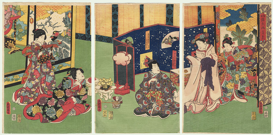 Couple Preparing to Retire for the Evening, 1861 by Edo era artist (not read)