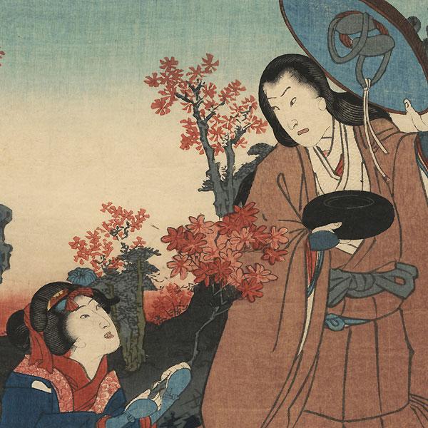 Traveling Monk and Children Working by Kunisada II (1823 - 1880)