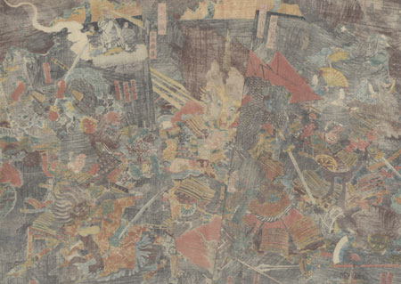 Raiko Slaying the Demon Shuten-doji at Oeyama, 1849 - 1852 by Kunimasa II (1792 - 1857)