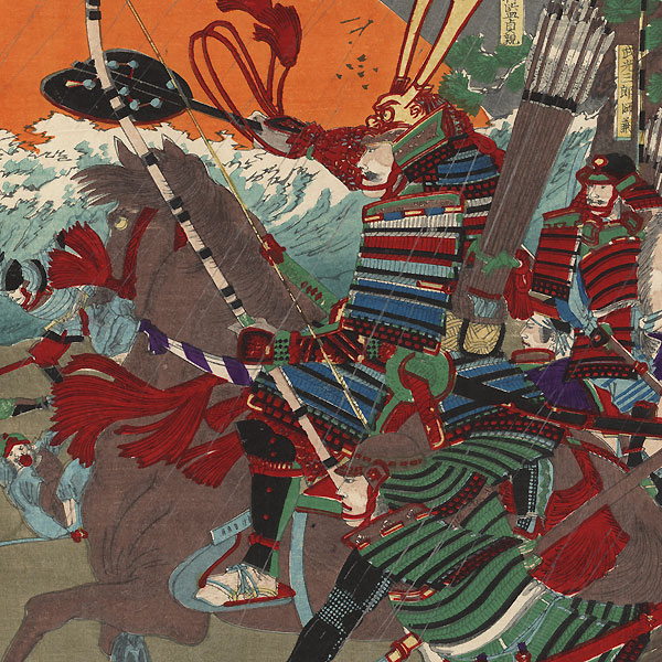 The Defeat of the Mongol Invasion Fleet, 1863 by Chikanobu (1838 - 1912)