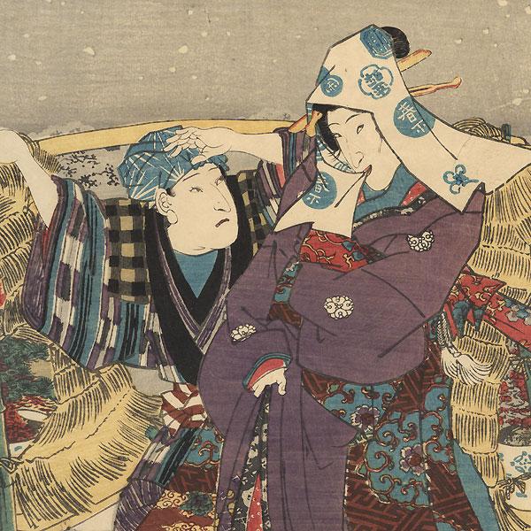 Meeting in the Snow, 1848 by Toyokuni III/Kunisada (1786 - 1864)