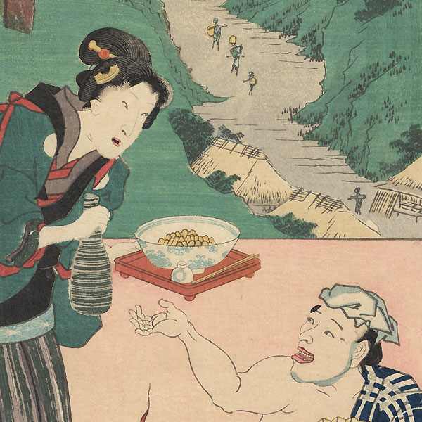 Totsuka: Traveler and Waitress at an Inn, 1854 by Hiroshige (1797 - 1858) and Toyokuni III/Kunisada (1786 - 1864)