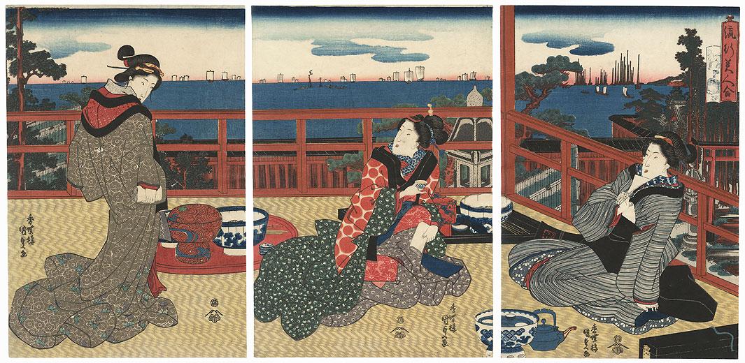 Fashionable Beauties by Toyokuni III/Kunisada (1786 - 1864)