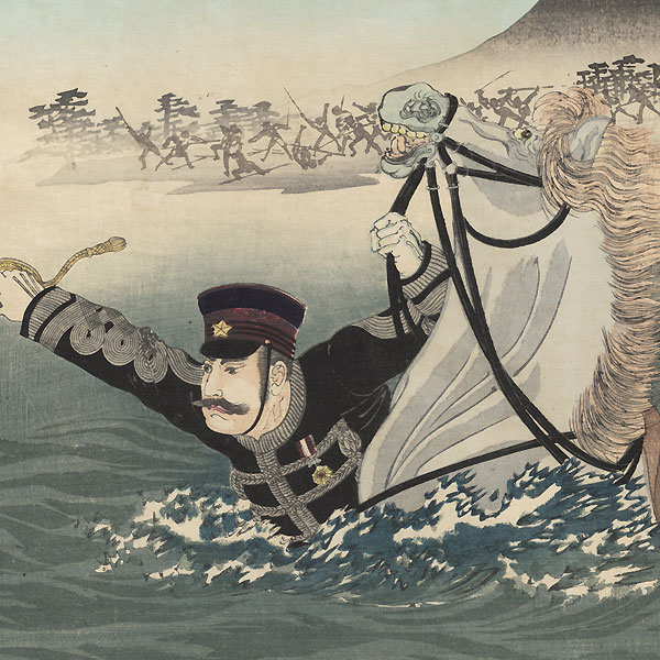 Our Forces Crossing the Yalu River: In Honor of Lieutenant-General Nozu, 1894 by Nobukazu (1874 - 1944)