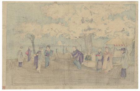 Cherry Blossoms at Mukojima by Kiyochika (1847 - 1915)