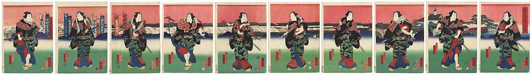 Street Knights and City Scene by Yoshitaki (1841 - 1899)