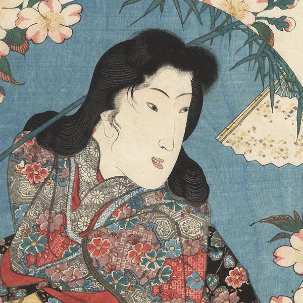 Hanjo-gozen with Cherry Blossoms, circa 1843 by Kuniyoshi (1797 - 1861)