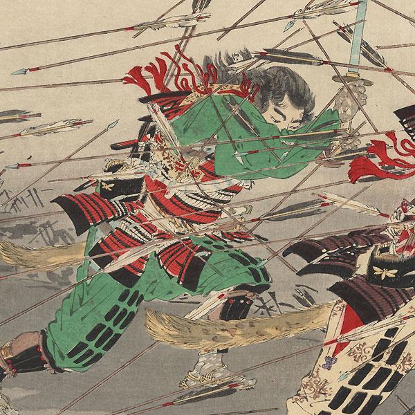 Last Stand of the Kusunoki Clan at Shijonawate, 1891 by Gekko (1859-1920)