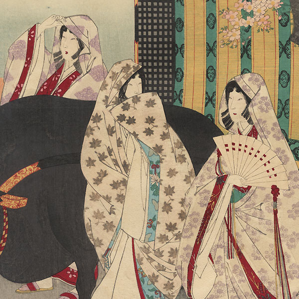 Priest Shiga Shonin and Royal Carriage by Chikanobu (1838 - 1912)