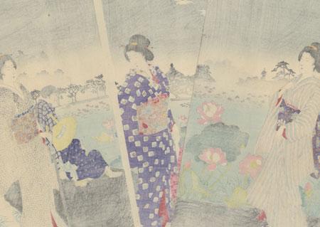 Enjoying the Morning Dew beside Shinobazu Pond, 1892 by Chikanobu (1838 - 1912)