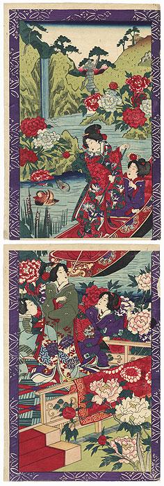 Beauties in a Peony Garden by Meiji era artist (not read)