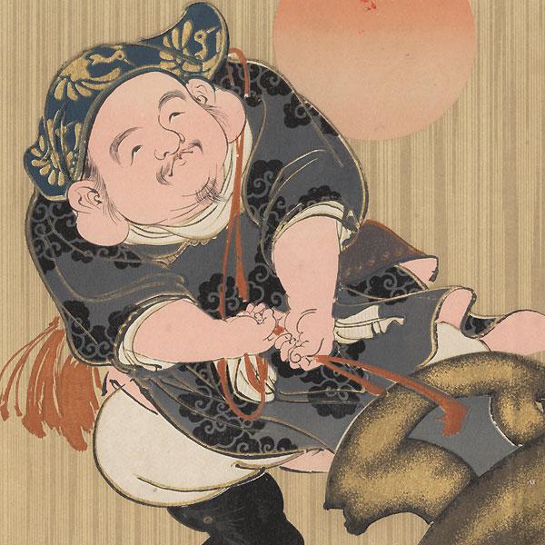 Lucky God Daikoku Pulling a Giant Magic Mallet by Meiji era artist (unsigned)